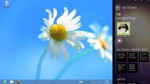 Der Desktop von Windows mit angedockter TuneIn-App