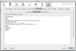 In den Markdown-Einstellungen kann das HTML-Template bearbeitet werden