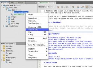 Über das Kontextmenü einer MD-Datei kann eine HTML-Version generiert werden